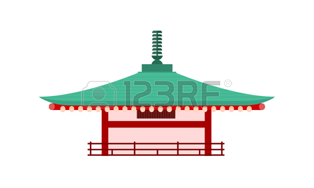 Japanese Temple Isolated. Pagoda Tower. Traditional Building.