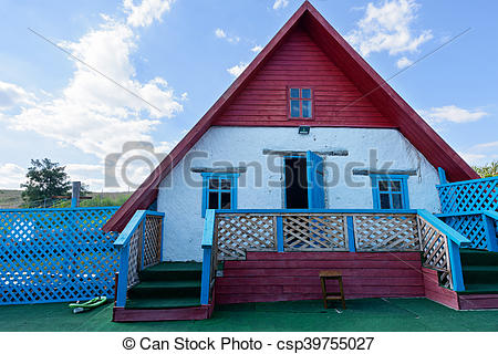 Stock Photo of Small house from clay, traditional building in.