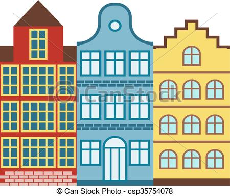 Vectors Illustration of Traditional old buildings Amsterdam house.
