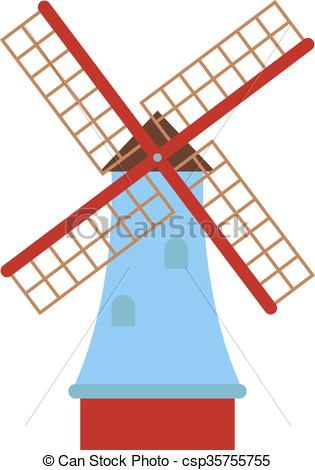 Clipart Vector of Traditional old windmill building color painted.