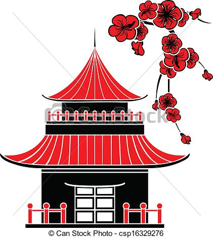 Japanese traditional house clipart.