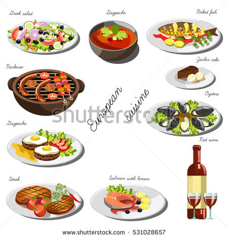 Set Traditional Food Icons Stock Vector 134243666.