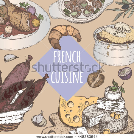 Color French Cuisine Template With Traditional Dishes Sketch.