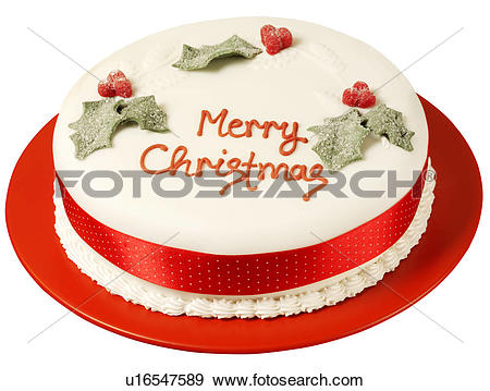 Stock Photograph of Traditional Christmas Cake Cut Out u16547589.