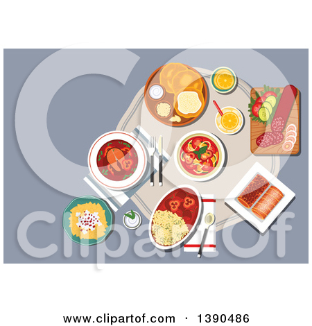 Clipart of Traditional Hungarian Cuisine Fried Bread Langos with.
