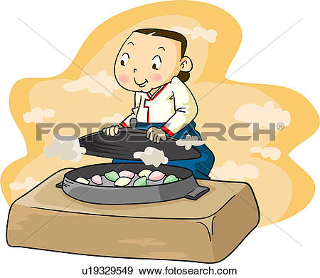 Stock Illustration of sincerity, steamed, cooking, iron pot, rice.
