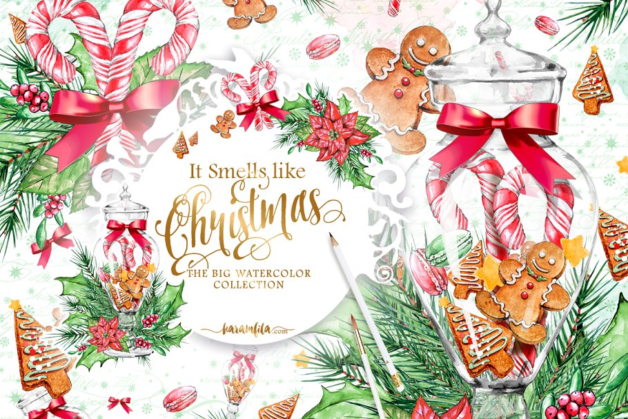 Traditional Christmas Clipart ~ Illustrations ~ Creative Market.