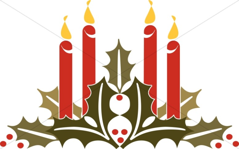 Holly and Candles Clipart.