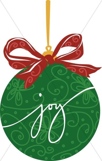 Green JOY ornament.