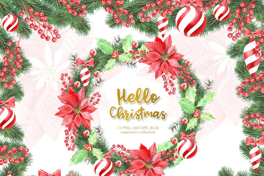 Watercolor Christmas Wreath, Clipart.