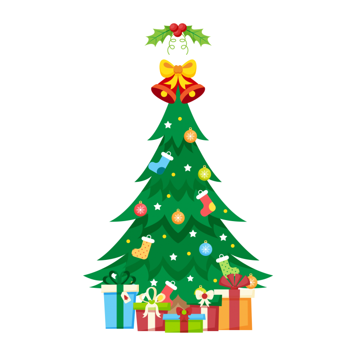 Traditional Christmas Tree With Gifts Clipart PNG Image Free.
