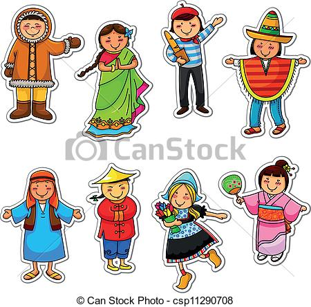 Vector Clipart of ethnic diversity.