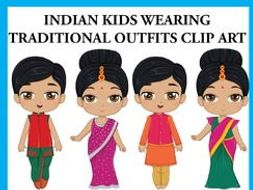 Indian Kids wearing Traditional Outfits Clip Art.