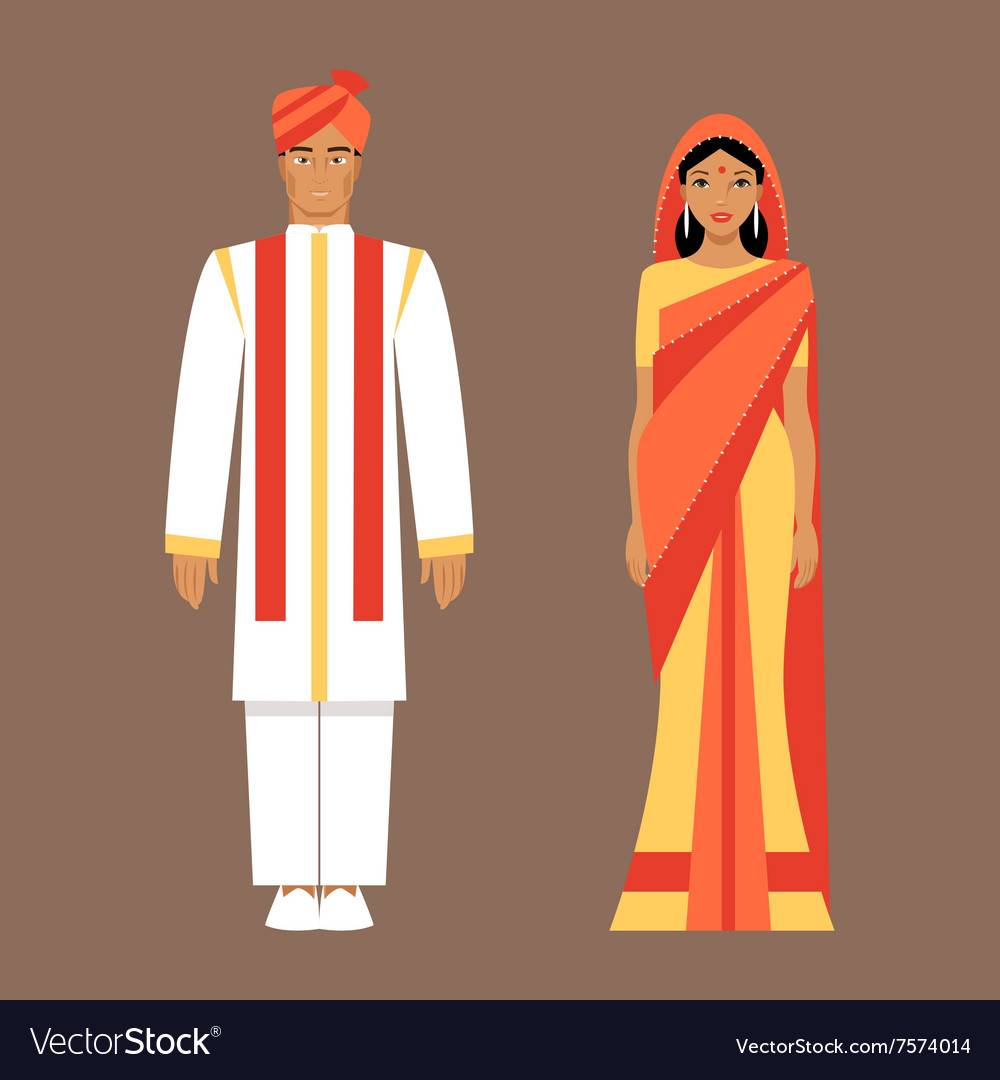 Indian man and woman in traditional clothes.