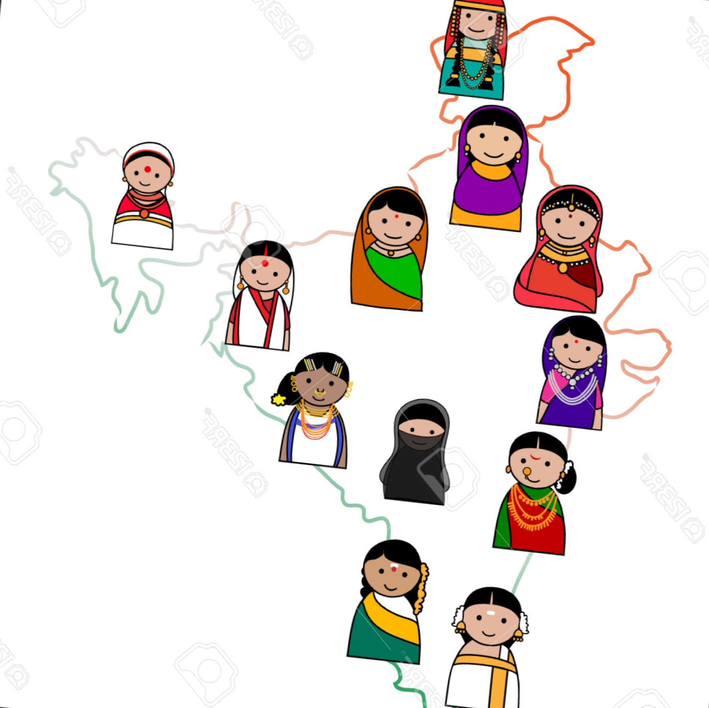 Traditional dresses of indian states clipart 10 » Clipart.