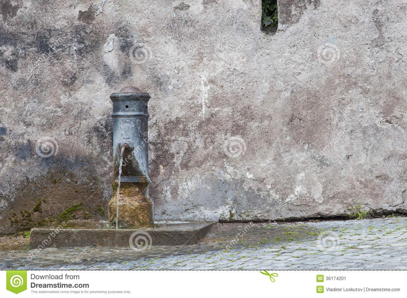 Roman Drinking Fountain Stock Image.