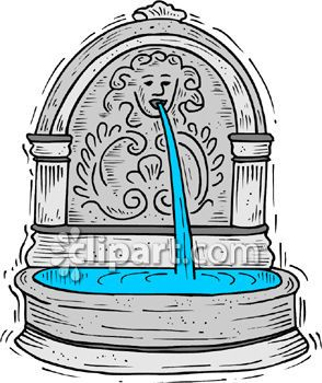 Intricate Concrete Water Fountain in for a Garden Royalty Free.