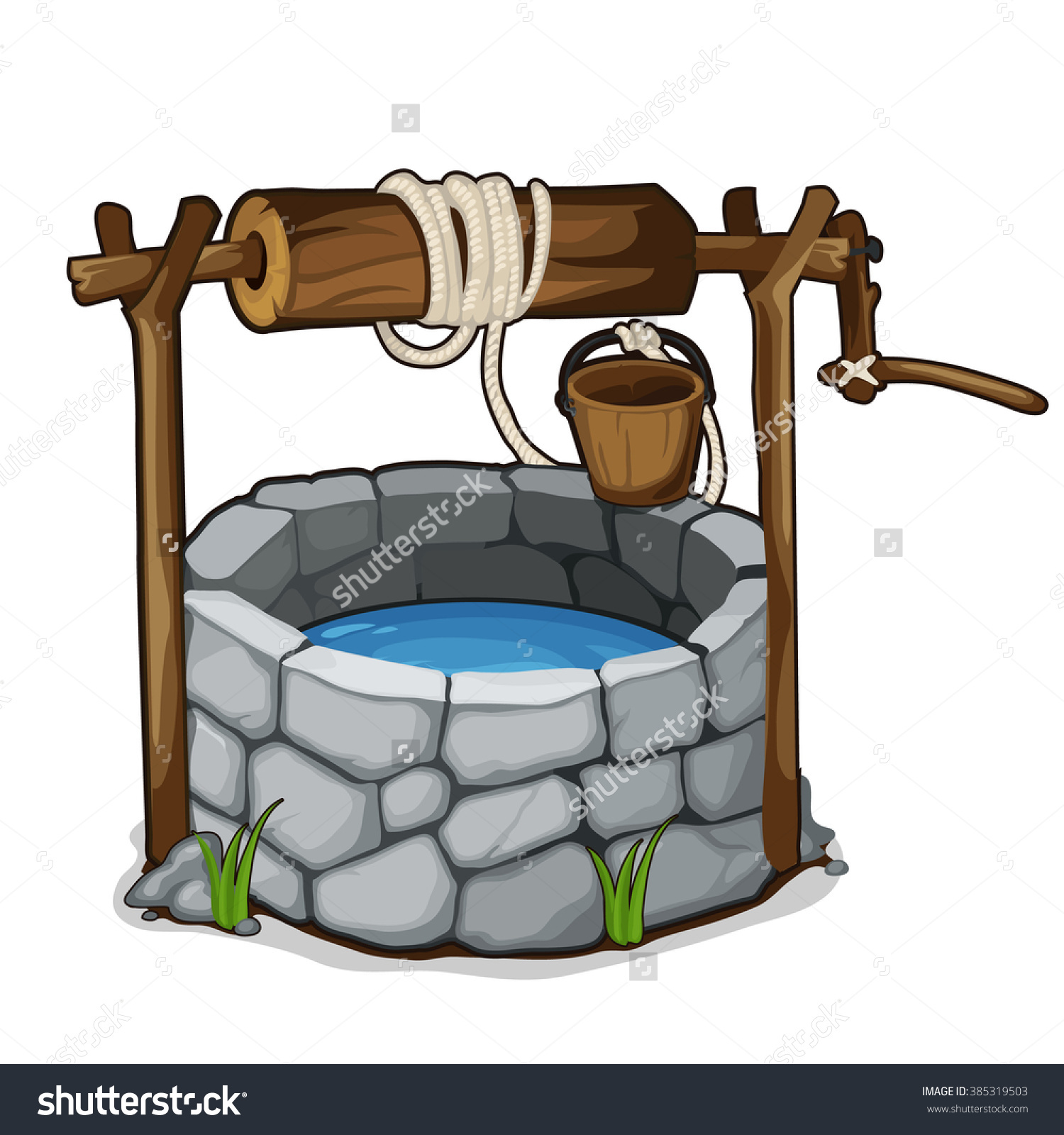Stone Well Bucket Drinking Water Isolated Stock Vector 385319503.