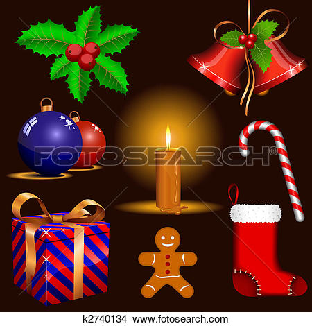 Clipart of Traditional Christmas symbols k2740134.