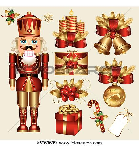 Clip Art of Traditional christmas elements k5963699.