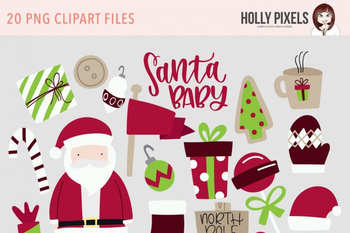 Santa Baby Clipart PNG Traditional by Holly Pixels.