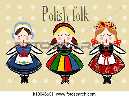 Clipart of Traditional Polish Costume.