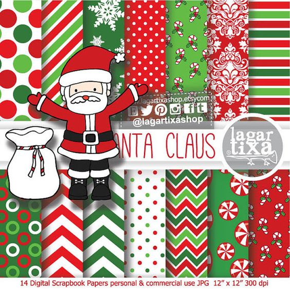 Christmas patterns Santa Claus Traditional clip art mint candy.