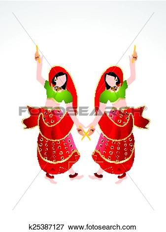 Clip Art of Traditional indian girl playing k25387127.