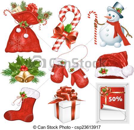 Vector Clip Art of Traditional Christmas symbols. Vector.