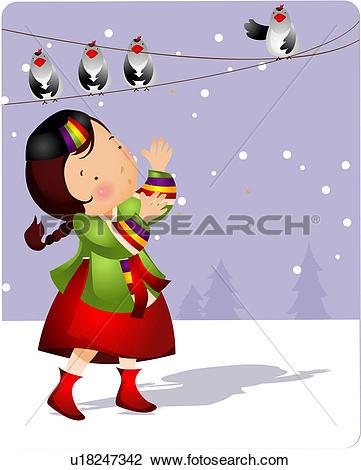 Clip Art of magpie, traditional korean dress, bird, snowing.