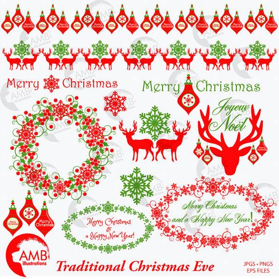 Traditional christmas clip art.