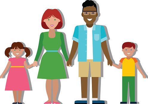 Multicultural traditional family Clipart Image.