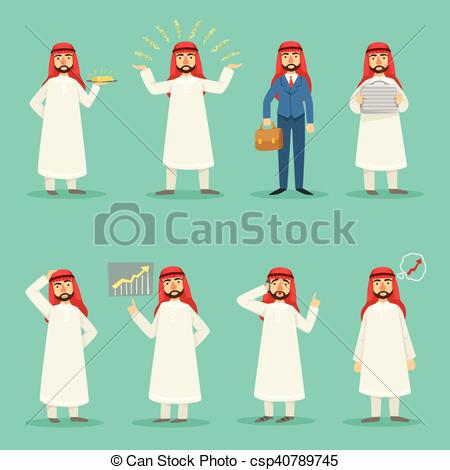 EPS Vector of Arabic Businessman In Traditional Clothes At.
