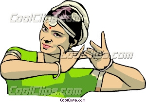Woman performing traditional dance Clip Art.