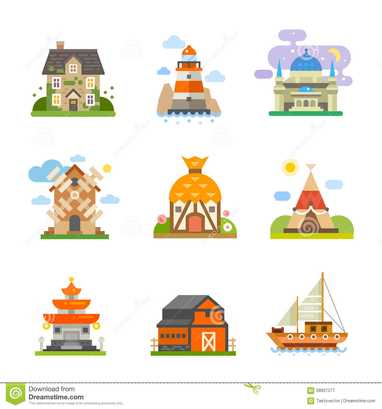 World Houses Stock Vector.