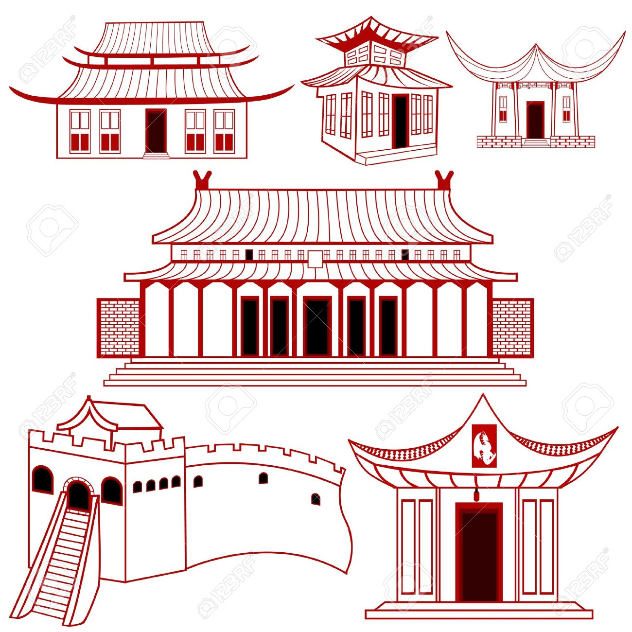 A Collection Of Chinese Outlined Traditional Buildings.