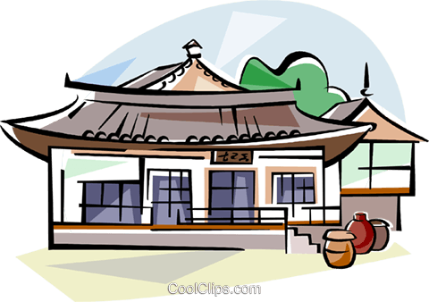 Korea Traditional Korean house Royalty Free Vector Clip Art.