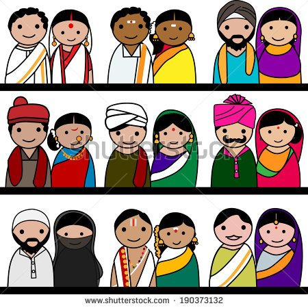 Indian traditional dresses of different states clipart.