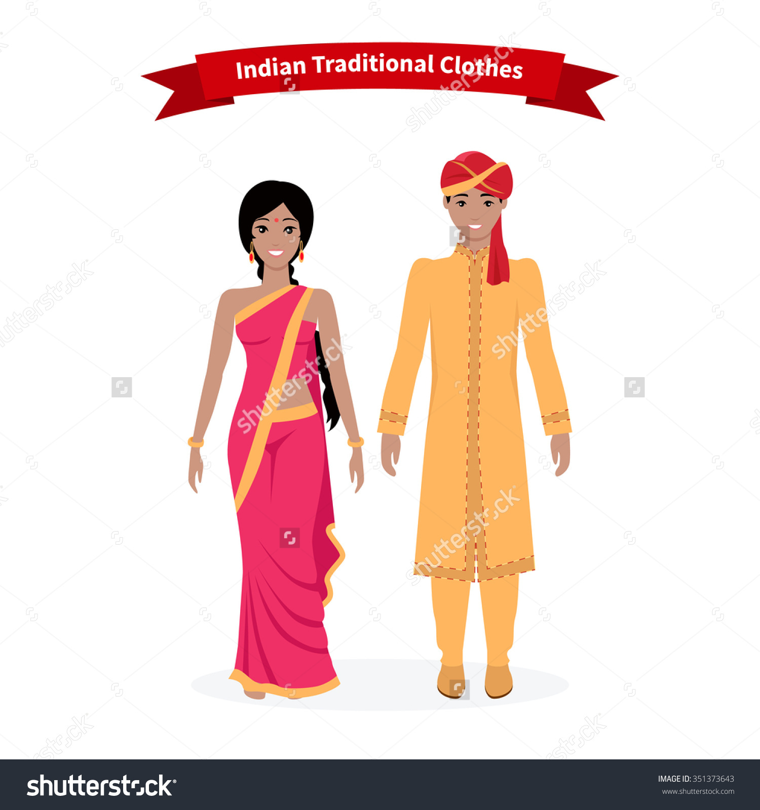 Indian Traditional Clothes People Indian Sari Stock Vector.