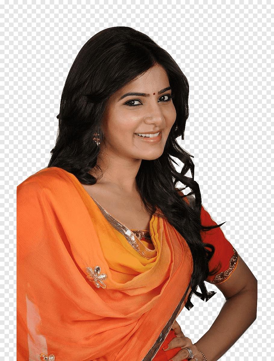 Woman in orange and red sari dress, Samantha Akkineni Actor.
