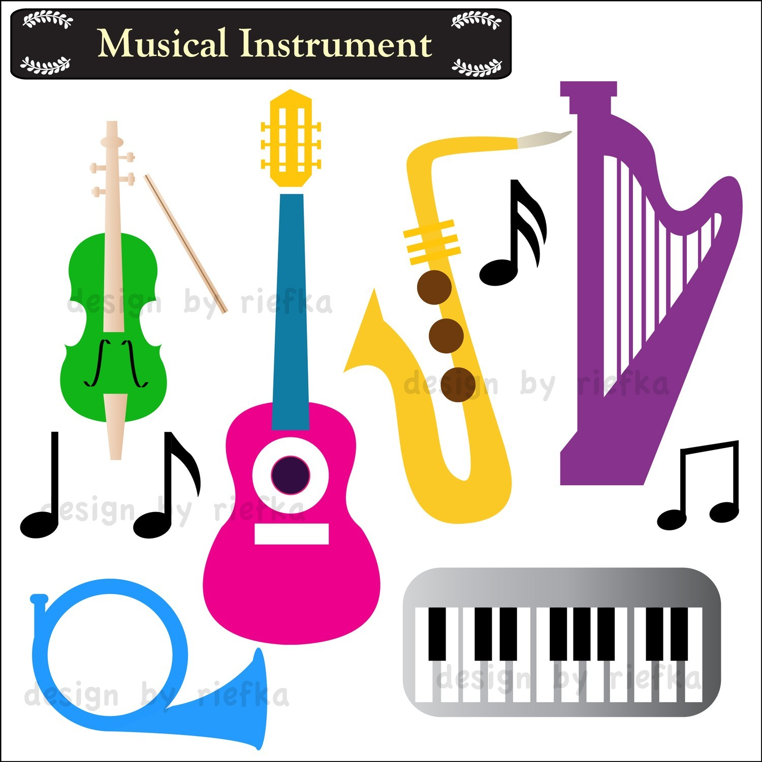 Musical Instrument Clip Art. $5.00, via Etsy..