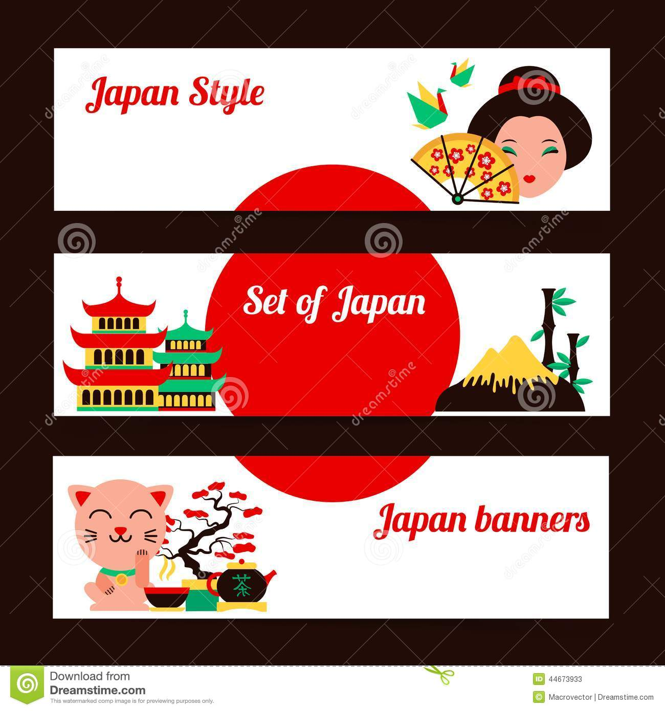Japan Banner Set Stock Vector.