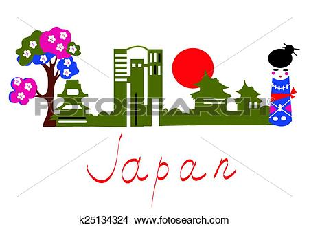 Clipart of Japan traditional symbols banner with buildings, sakura.