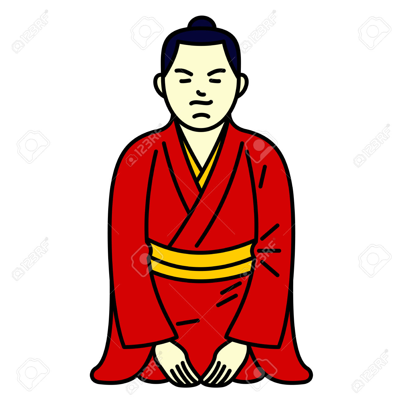 Vector Illustration Sitting Japanese Boy. Traditional Japanese.