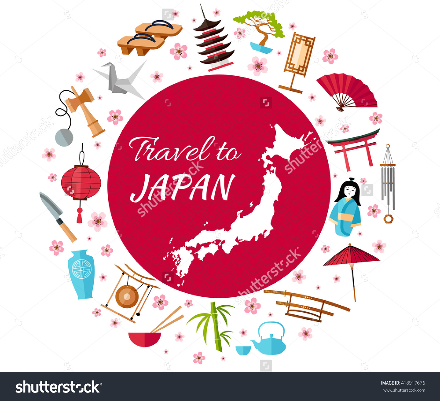 Japan Travel Banner Icons Souvenirs Design Stock Vector 418917676.