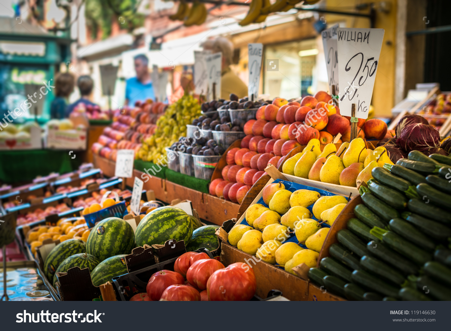 Vegetable Stand Traditional Market Venice Italy Stock Photo.