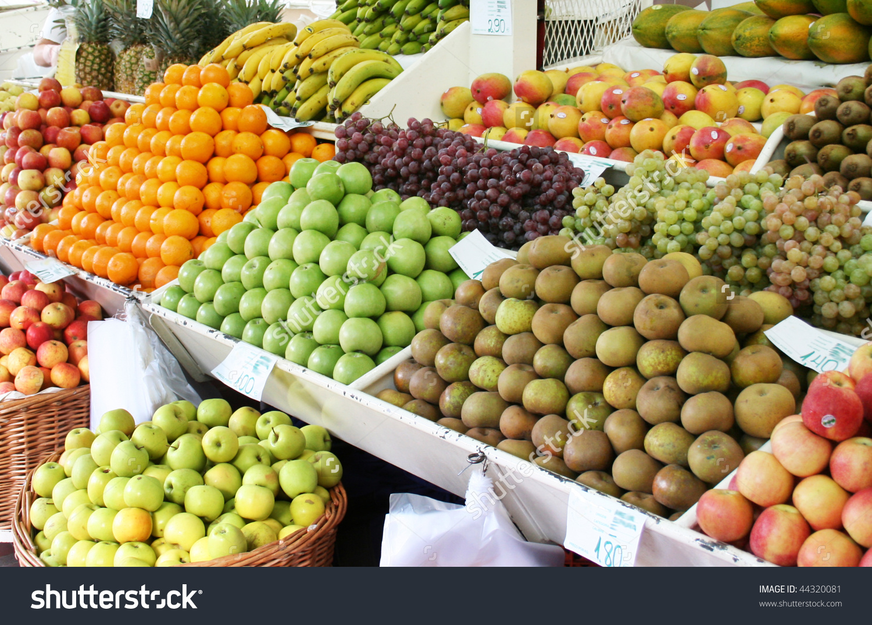 Fresh Fruits On Traditional Market Stock Photo 44320081.