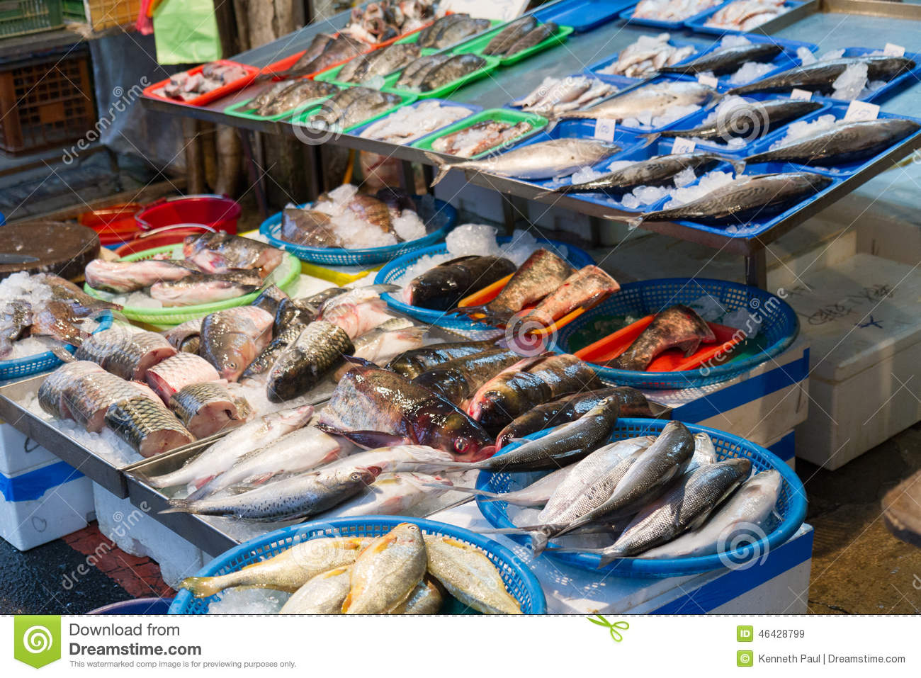 Raw Fish At Traditional Market In Taiwan Stock Photo.