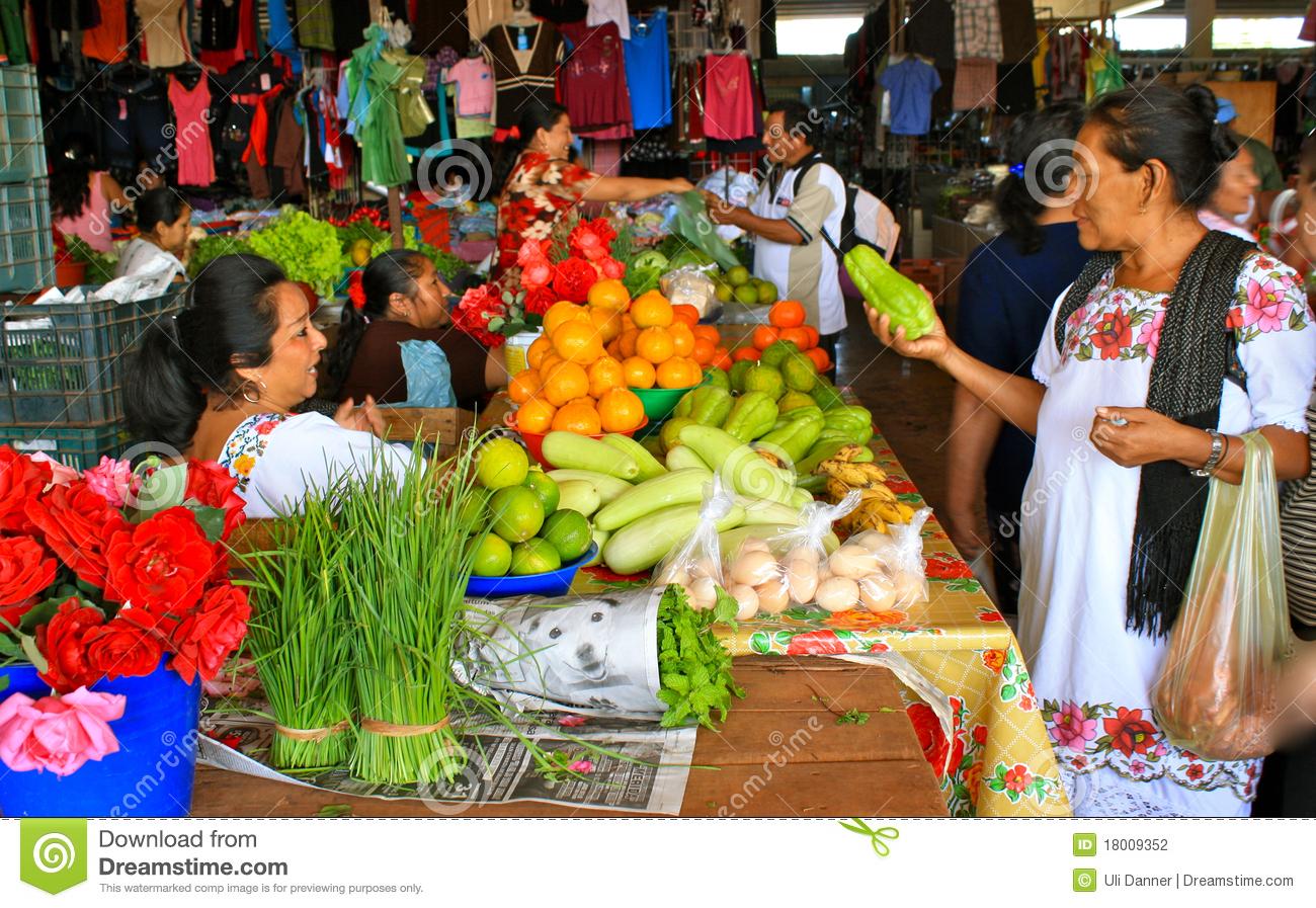 Mayan Fruit Market, Yucatan, Mexico Editorial Photography.