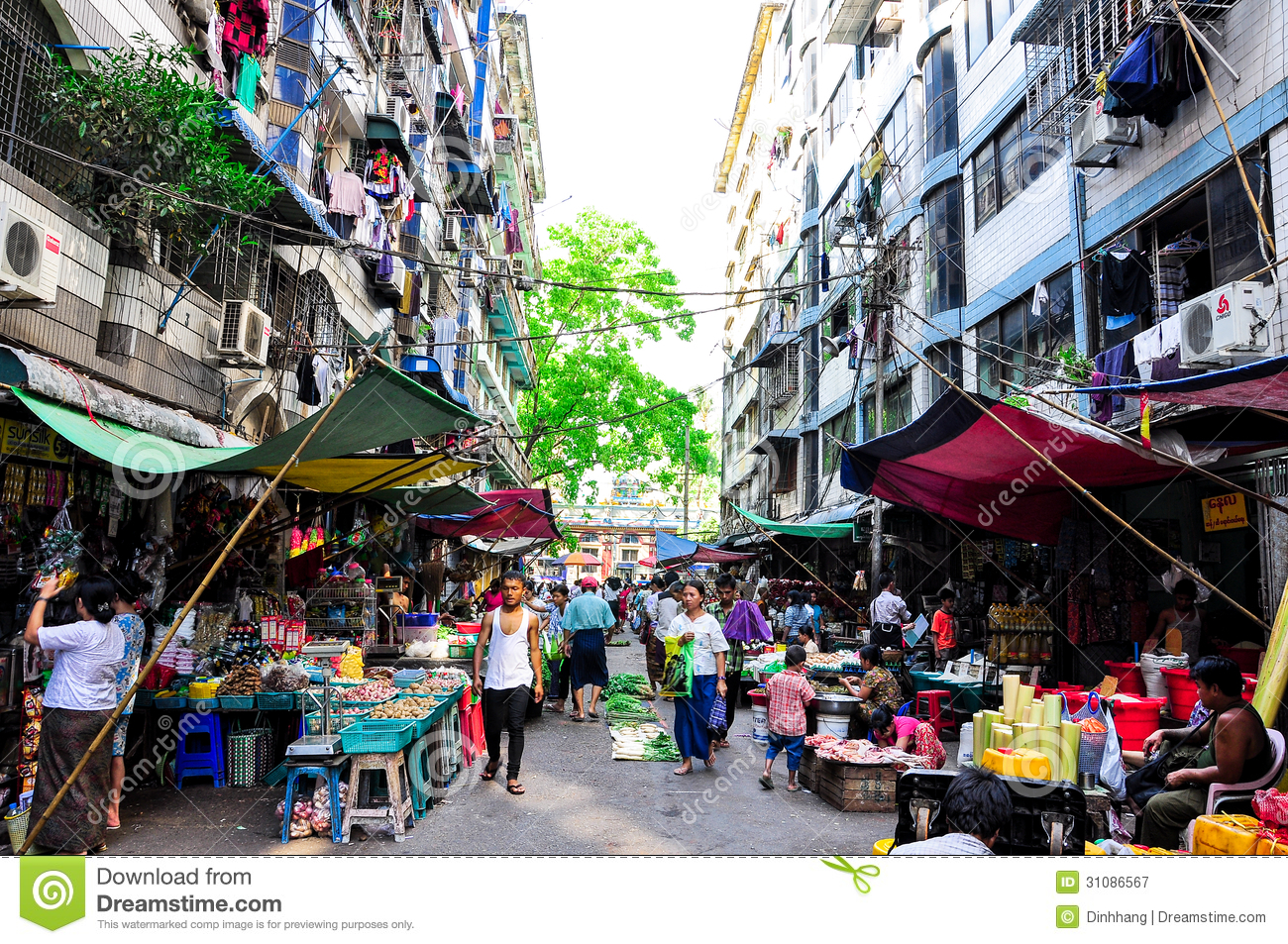 Asian Outdoor Traditional Market Editorial Photography.
